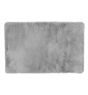 Luxurious Faux Fur Bath Mat Light Grey