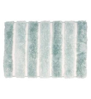 Two-Tone Plush Microfiber Bath Mat Aqua