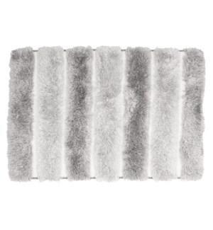 Two-Tone Plush Microfiber Bath Mat Grey