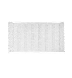 Texture Tassel Cotton Bath Mat White