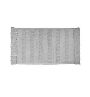 Texture Tassel Cotton Bath Mat Grey
