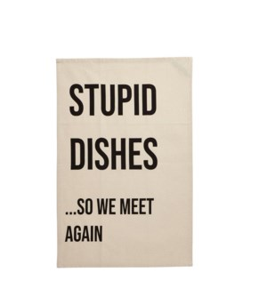 Stupid Dishes Single Kitchen Towel Black