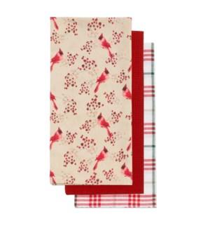 Cardinal Tea Towel Set of 3 Red