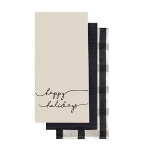 Happy Holidays Tea Towel Set of 3 Black