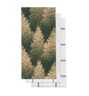 Golden Forest Tea Towel S/3 Forest/Gold