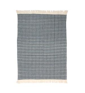 Jumbo Waffle Fringe Tea Towel Navy
