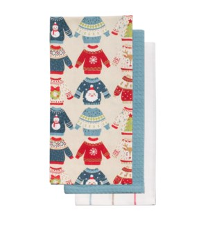 Novelty Ugly Sweater Tea Towel Set of 3 Multi