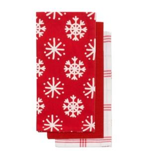 Playful Snowflake Tea Towel S/3 Red