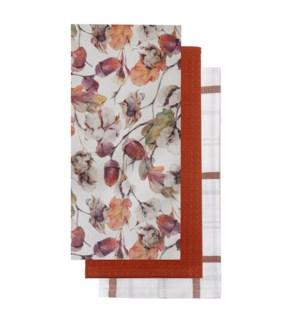 Harvest Leaf Tea Towel Set of 3 Multi