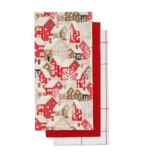 Winter Village Tea Towel S/3 Red