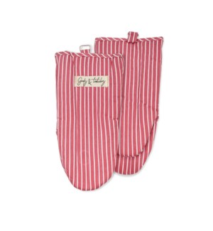 Tuscan Stripe Woven Oven Mitt Set Of 2 Red