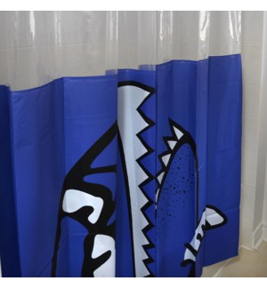 Shark Shower Curtain Blue