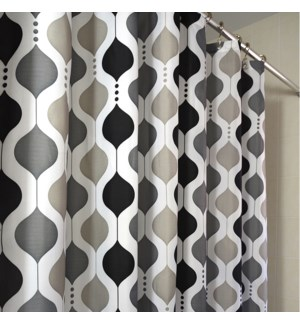 Moroccan Wave Shower Curtain Black