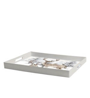 Reindeer In Forest Printed Serving Tray Multi