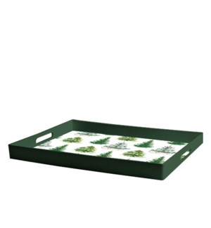 Winter Trees Printed Serving Tray Green