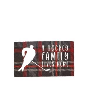 A Hockey Family Lives Here Coir Mat Multi