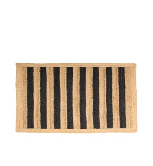 Bold Stripe Jute Accent Rug Black