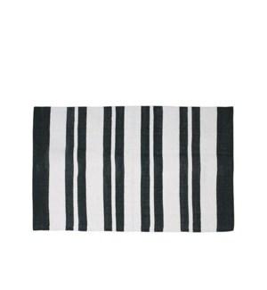 County Stripe Tasseled Floor Mat 28 X 48 Black