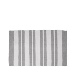 County Stripe Tasseled Floor Mat 28 X 48 Grey