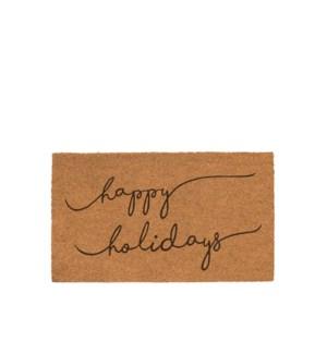 Happy Holidays Script Coir Mat Black