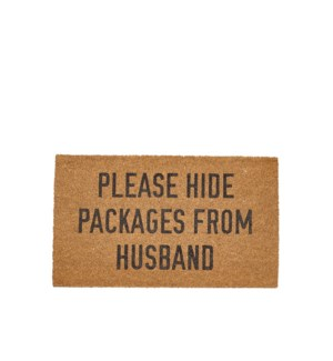 Please Hide Packages from Husband Coir Mat Black