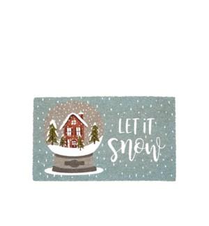Let It Snow Coir Mat Blue