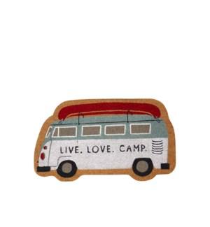 Live Love Camp Coir Mat - Shaped Multi