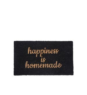 Happiness Is Homemade Printed Coir Mat Black