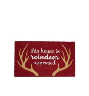 This House Is Reindeer Approved Coir Mat Red