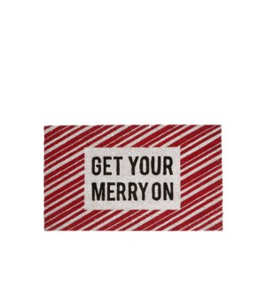 Get Your Merry On Coir Mat Red