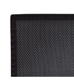 Herringbone Border Vinyl Runner Black 24 x 72