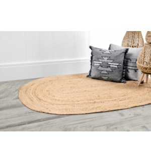 Nobu Jute Accent Rug Oval White