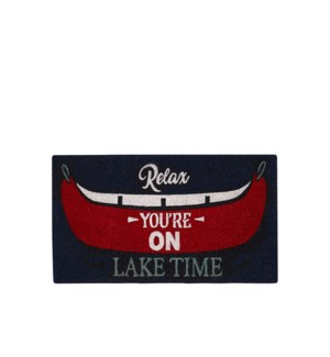 Relax You're on Lake Time Coir Mat - Long Multi
