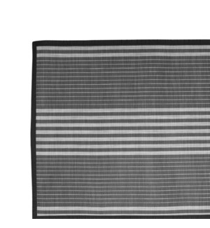 Linen Stripe Vinyl Floor Mat Black