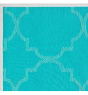 Panama Tile Vinyl Floor Runner Aqua 24 x 72