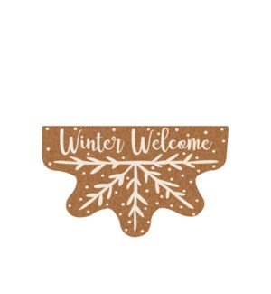 Winter Welcome Shaped Coir Mat White