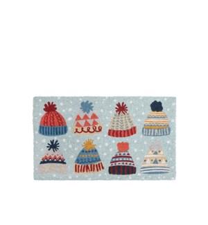 Winter Hat Coir Mat Blue