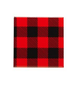 Buffalo Check Printed Ceramic Coaster Set Of 6 Black/Red