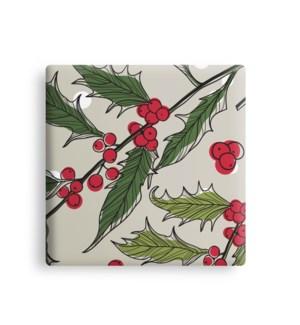Holly Printed Ceramic Coaster Set Of 6 Multi