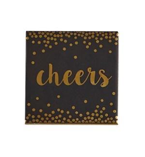 Cheers Printed Ceramic Coaster Set of 4 Black/Gold