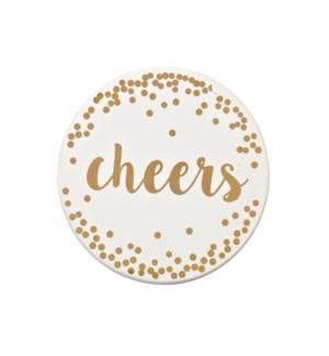 Cheers Printed Ceramic Coaster Set of 4 Gold