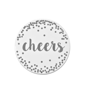 Cheers Printed Ceramic Coaster Set of 4 Silver