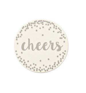 Cheers Paper Coaster with Tin Silver