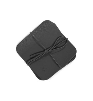 Studio Leather Coaster Set of 6 Black