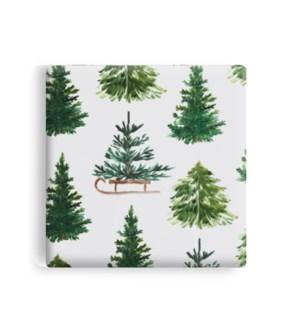 Winter Trees Printed Ceramic Coaster Set Of 6 Green