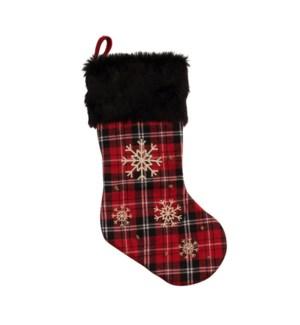 Snowflake Tartan Stocking Red
