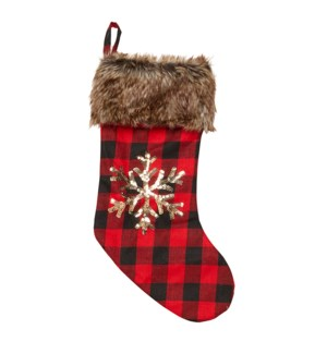 Buffalo Check Sequin Stocking Red
