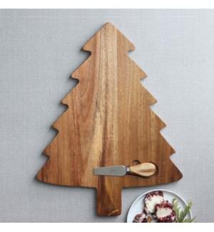 2Pc Tree Acacia Cheese Board Set Natural