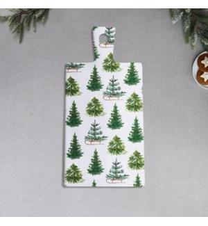 Winter Trees Printed Ceramic Serving Board Green