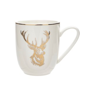 Toile Reindeer Mug Gold